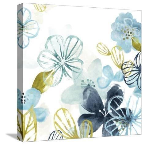 Aqua Flora II-June Vess-Stretched Canvas Print
