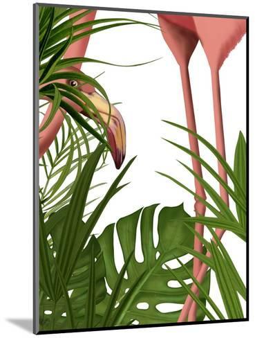 Flamingo Peering-Fab Funky-Mounted Art Print