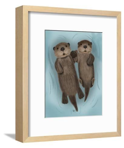 Otters Holding Hands-Fab Funky-Framed Art Print