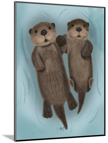 Otters Holding Hands-Fab Funky-Mounted Art Print