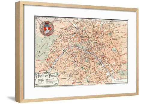 """""""Plan of Paris"""" Travelways French Map from the 1800s-Piddix-Framed Art Print"""