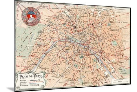 """""""Plan of Paris"""" Travelways French Map from the 1800s-Piddix-Mounted Art Print"""