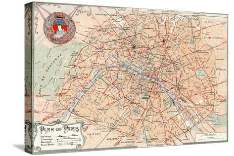 """""""Plan of Paris"""" Travelways French Map from the 1800s-Piddix-Stretched Canvas Print"""