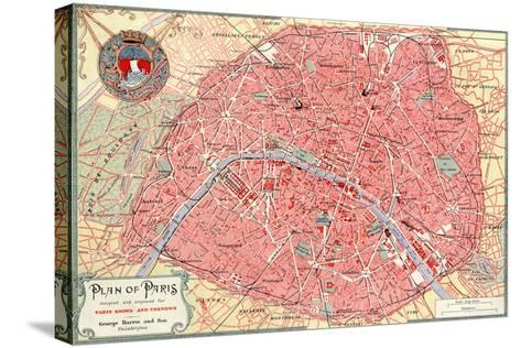 """""""Plan of Paris"""" French Map from the 1800s-Piddix-Stretched Canvas Print"""