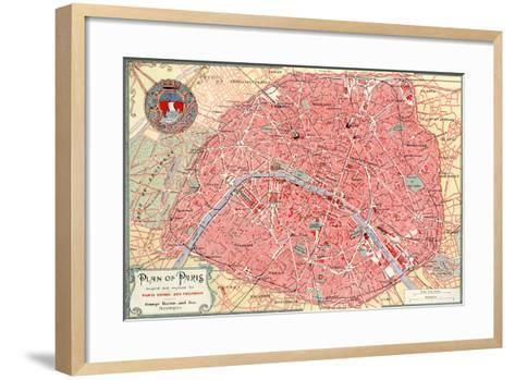 """""""Plan of Paris"""" French Map from the 1800s-Piddix-Framed Art Print"""