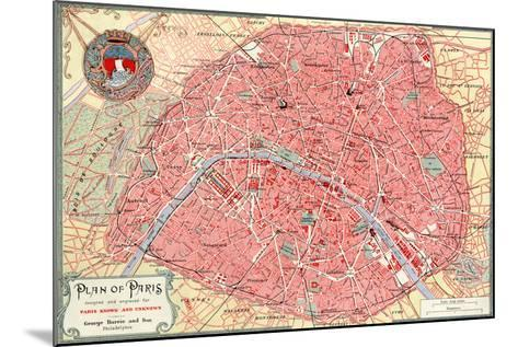"""""""Plan of Paris"""" French Map from the 1800s-Piddix-Mounted Art Print"""