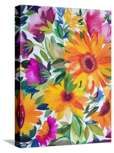 Orange Gerber Daisies 2-Kim Parker-Stretched Canvas Print