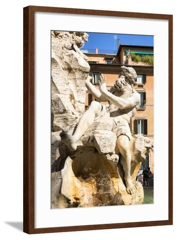 Dolce Vita Rome Collection - The Four Rivers Fountain in Piazza Navona-Philippe Hugonnard-Framed Art Print