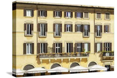 Dolce Vita Rome Collection - Building Facade Yellow-Philippe Hugonnard-Stretched Canvas Print
