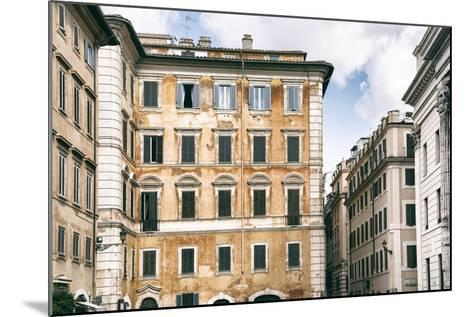 Dolce Vita Rome Collection - Dark Yellow Buildings Facade-Philippe Hugonnard-Mounted Photographic Print