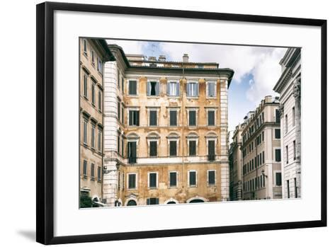 Dolce Vita Rome Collection - Dark Yellow Buildings Facade-Philippe Hugonnard-Framed Art Print