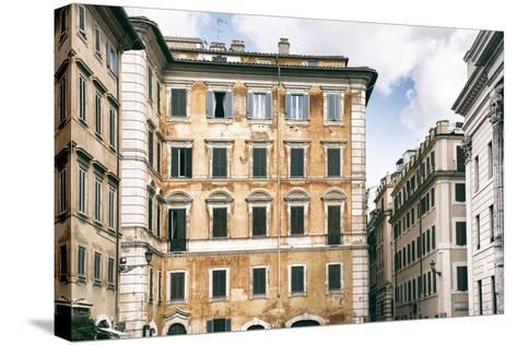 Dolce Vita Rome Collection - Dark Yellow Buildings Facade-Philippe Hugonnard-Stretched Canvas Print