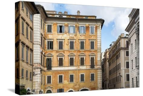 Dolce Vita Rome Collection - Orange Buildings Facade-Philippe Hugonnard-Stretched Canvas Print