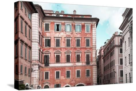 Dolce Vita Rome Collection - Coral Buildings Facade-Philippe Hugonnard-Stretched Canvas Print