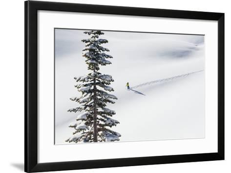 Skiing Off Of Cody Peak During A Sunny Morning In The Teton Backcountry-Jay Goodrich-Framed Art Print