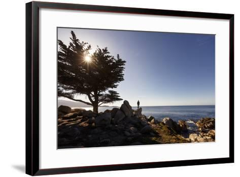 17-Mile Drive, Del Monte Forest, CA, USA: Man Standing On Cliff Looking Out Ocean Pescadero Point-Axel Brunst-Framed Art Print
