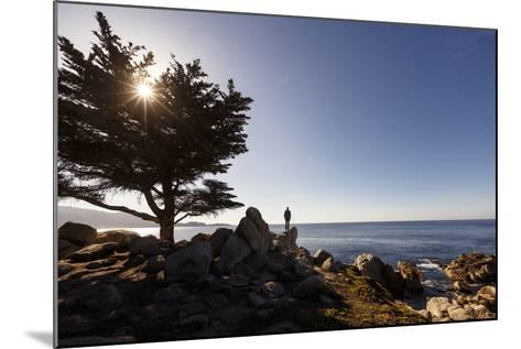 17-Mile Drive, Del Monte Forest, CA, USA: Man Standing On Cliff Looking Out Ocean Pescadero Point-Axel Brunst-Mounted Photographic Print
