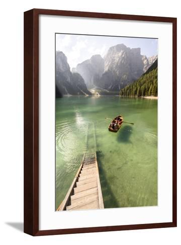 Lake Prags, Prags Dolomites, S Tyrol, Italy: People In Rowing Boat Rowing Out From Rental Station-Axel Brunst-Framed Art Print
