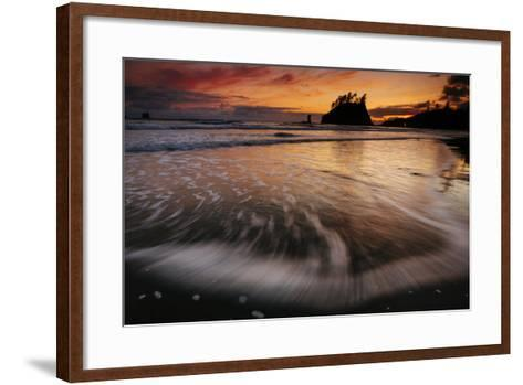 The Seastacks Along Second Beach Are Silhouetted At Sunset In Olympic National Park, Washington-Jay Goodrich-Framed Art Print