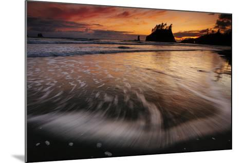 The Seastacks Along Second Beach Are Silhouetted At Sunset In Olympic National Park, Washington-Jay Goodrich-Mounted Photographic Print