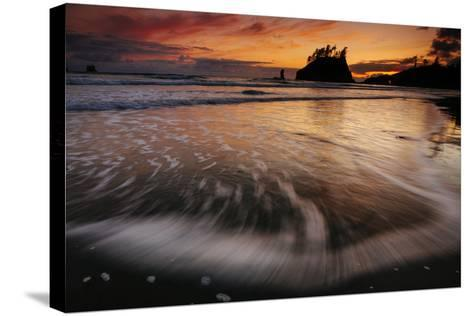 The Seastacks Along Second Beach Are Silhouetted At Sunset In Olympic National Park, Washington-Jay Goodrich-Stretched Canvas Print