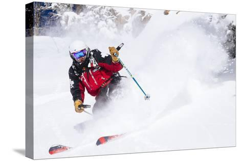 Skiing In-Bounds Powder And Terrain At Jackson Hole Mountain Resort-Jay Goodrich-Stretched Canvas Print