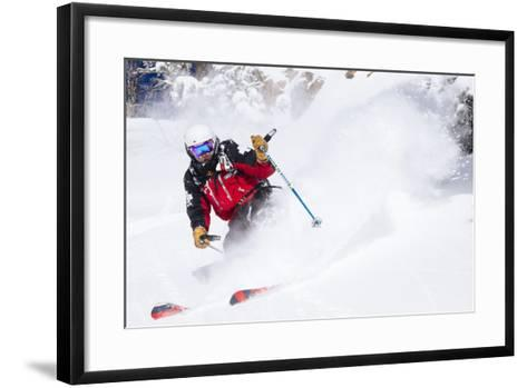 Skiing In-Bounds Powder And Terrain At Jackson Hole Mountain Resort-Jay Goodrich-Framed Art Print