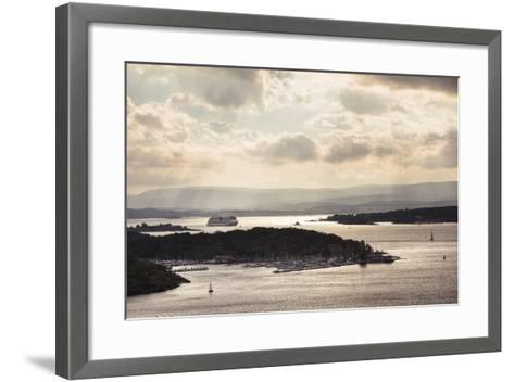 Oslo, Østlandet, Norway: Cruise Ship Aidaluna Entering Oslo Harbor In Late Afternoon-Axel Brunst-Framed Art Print