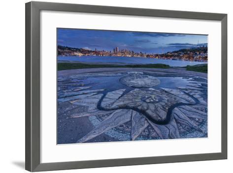 Decorative Concrete Inlay, Gasworks Park Looking At Seattle City Skyline, As Sun Sets In Washington-Jay Goodrich-Framed Art Print