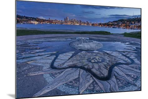 Decorative Concrete Inlay, Gasworks Park Looking At Seattle City Skyline, As Sun Sets In Washington-Jay Goodrich-Mounted Photographic Print