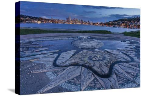 Decorative Concrete Inlay, Gasworks Park Looking At Seattle City Skyline, As Sun Sets In Washington-Jay Goodrich-Stretched Canvas Print