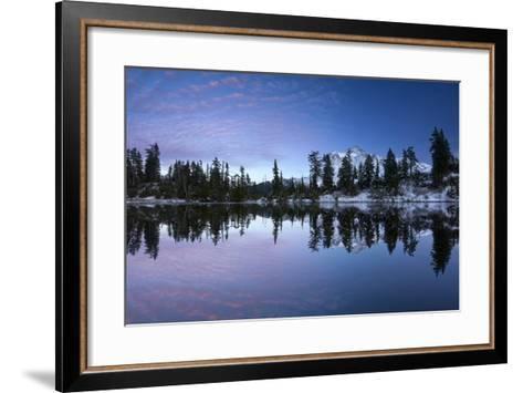 Mount Shuksan Is Reflected In A Lake In Late Autumn Near Mount Baker Ski Area-Jay Goodrich-Framed Art Print