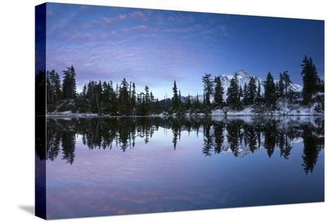 Mount Shuksan Is Reflected In A Lake In Late Autumn Near Mount Baker Ski Area-Jay Goodrich-Stretched Canvas Print
