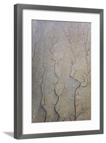 The Channels Of Tide Lines Exposed At Low Tide Along The Cook Inlet Near Anchorage Alaska-Jay Goodrich-Framed Art Print