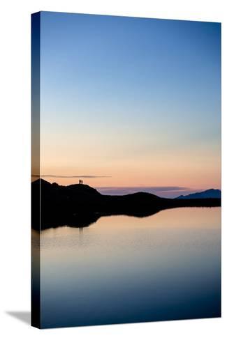 Schrecksee, Allgäu, Bavaria, GER: 3 Hikers Enjoying Sunset At Schrecksee, In The Allgäu Alps-Axel Brunst-Stretched Canvas Print