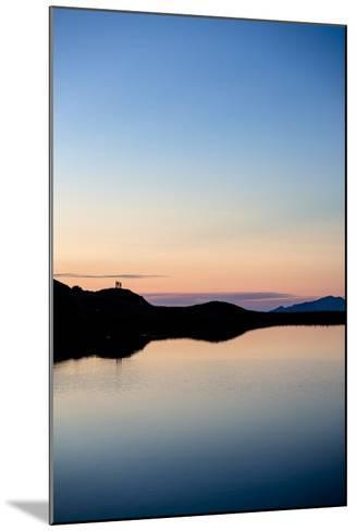 Schrecksee, Allgäu, Bavaria, GER: 3 Hikers Enjoying Sunset At Schrecksee, In The Allgäu Alps-Axel Brunst-Mounted Photographic Print