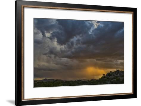 Sun Sets On Mopane Trees & Granite Boulders, Rain Storm Through Damaraland At The Hoada Campsite-Karine Aigner-Framed Art Print