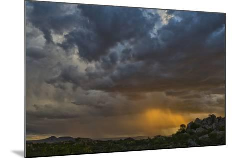 Sun Sets On Mopane Trees & Granite Boulders, Rain Storm Through Damaraland At The Hoada Campsite-Karine Aigner-Mounted Photographic Print