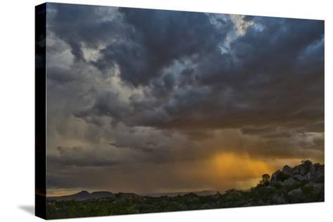 Sun Sets On Mopane Trees & Granite Boulders, Rain Storm Through Damaraland At The Hoada Campsite-Karine Aigner-Stretched Canvas Print