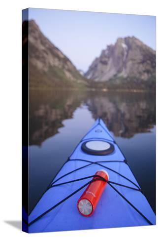 Sea Kayaking Jackson Lake In Grand Teton National Park, WY-Justin Bailie-Stretched Canvas Print