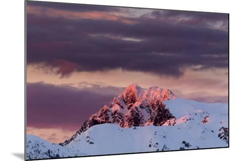 Sun Turns The Peaks Of The Cascades Crimson As Evening Approaches In The Mount Baker Backcountry-Jay Goodrich-Mounted Photographic Print