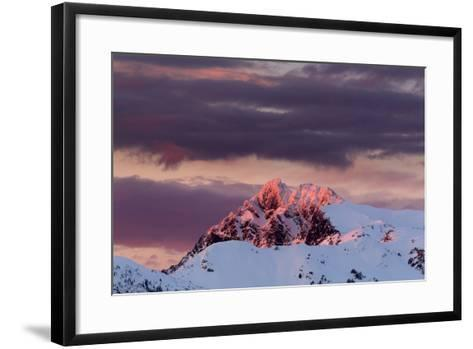 Sun Turns The Peaks Of The Cascades Crimson As Evening Approaches In The Mount Baker Backcountry-Jay Goodrich-Framed Art Print