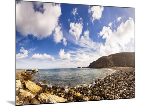 Santa Cruz, Channel Islands NP, CA, USA: Scorpion Beach In Afternoon, Clouds Cover Dark Blue Sky-Axel Brunst-Mounted Photographic Print
