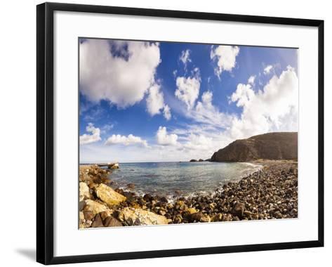 Santa Cruz, Channel Islands NP, CA, USA: Scorpion Beach In Afternoon, Clouds Cover Dark Blue Sky-Axel Brunst-Framed Art Print
