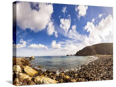 Santa Cruz, Channel Islands NP, CA, USA: Scorpion Beach In Afternoon, Clouds Cover Dark Blue Sky-Axel Brunst-Stretched Canvas Print