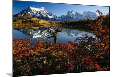 Lenga Beach In Peak Autumn Foliage Is Reflected In A Laguna In Torres Del Paine NP, Chile-Jay Goodrich-Mounted Photographic Print