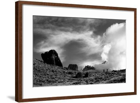 Guido And Canguro Throw Their Arms In The Air During A Hike In Torres Del Paine National Park-Jay Goodrich-Framed Art Print