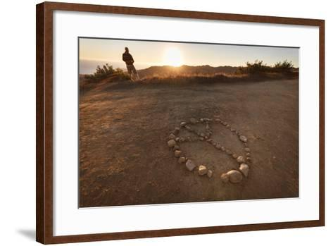 Backbone Trail, Santa Monica Mts National Recreation Area, CA, USA: Hiker Watching Sunset Pacific-Axel Brunst-Framed Art Print