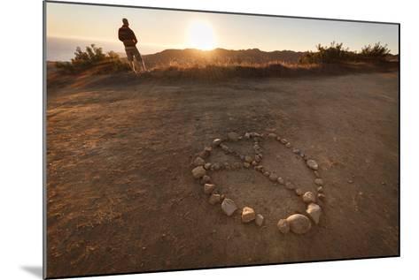 Backbone Trail, Santa Monica Mts National Recreation Area, CA, USA: Hiker Watching Sunset Pacific-Axel Brunst-Mounted Photographic Print