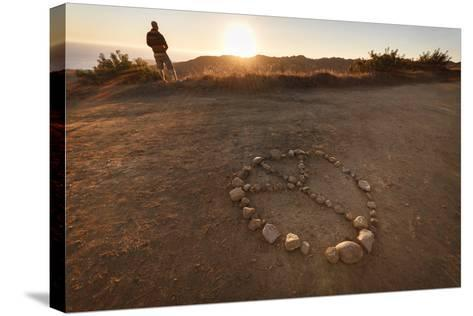 Backbone Trail, Santa Monica Mts National Recreation Area, CA, USA: Hiker Watching Sunset Pacific-Axel Brunst-Stretched Canvas Print